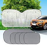 MANDCG® (6 Pcs) Windshield Sun Shade/ Sun Shade/A Powerful UV Ray Deflector/High Quality Car Sunshade/SUNSHIELD UV Reflecting Fabric/ for Minivan SUV , Truck ,Car Sun Shade and Universal Vehicle