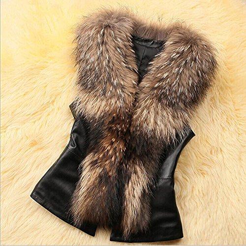 gilet hiver Gilet corps veste fausse fourrure sans Gilet gilet Covermason Manteaux manteau Marron Womens manches wRqzWvxXO