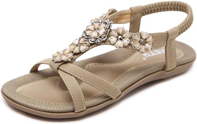 Amazon.com | ZAPZEAL Women Sandals, Women's Summer Bohemia Beaded Sandals  Shoes Peep-Toe Low Heel Shoes Flip Flops Roman Sandals Outdoor Shoes Size  6.5-12.5 US | Flats
