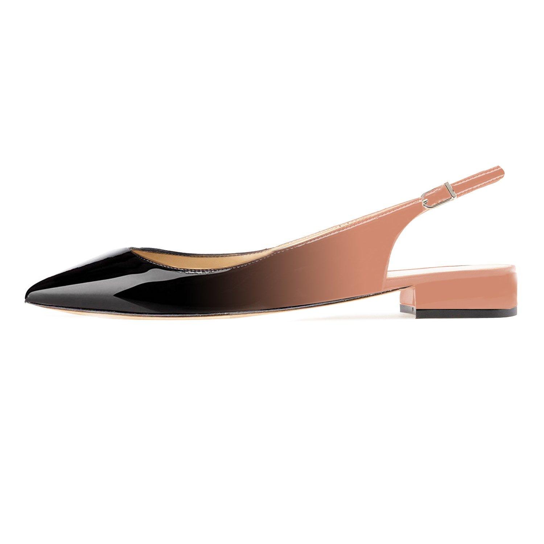 Eldof Women Low Heels Pumps | Pointed Toe 2cm Slingback Flat Pumps | 2cm Toe Classic Elegante Court Shoes B07CG75N5Y 6 B(M) US|Black-beige e72f0c