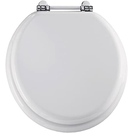 Wondrous Bemis 960Pch000 Wood Round Toilet Seat With Retro Hinge White Bralicious Painted Fabric Chair Ideas Braliciousco