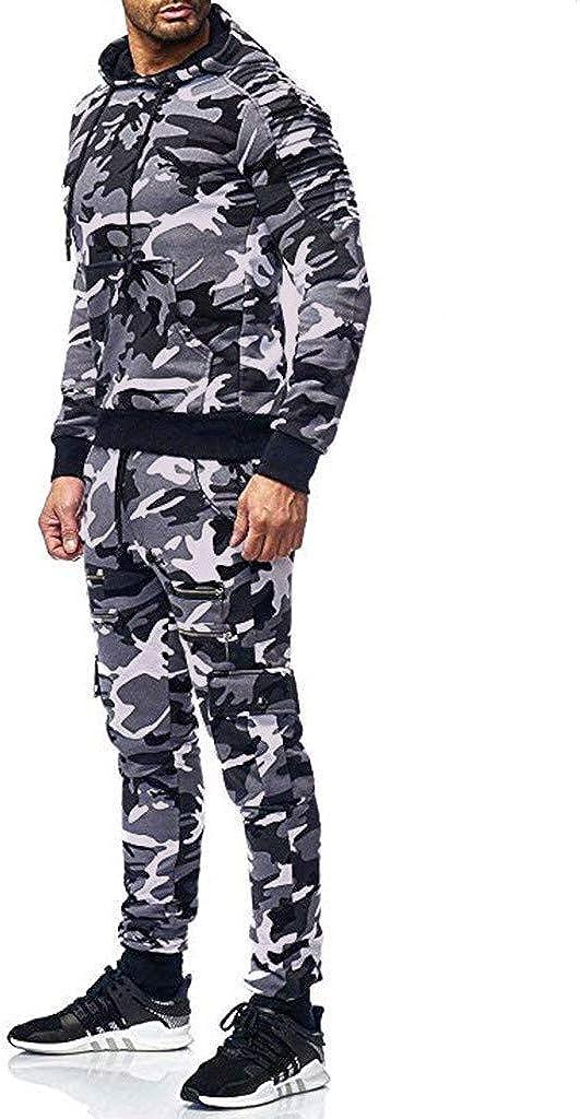 Xmiral Uomo Completo Pantaloni Cappuccio Set Tuta Sportiva Felpa Stampa Autunno