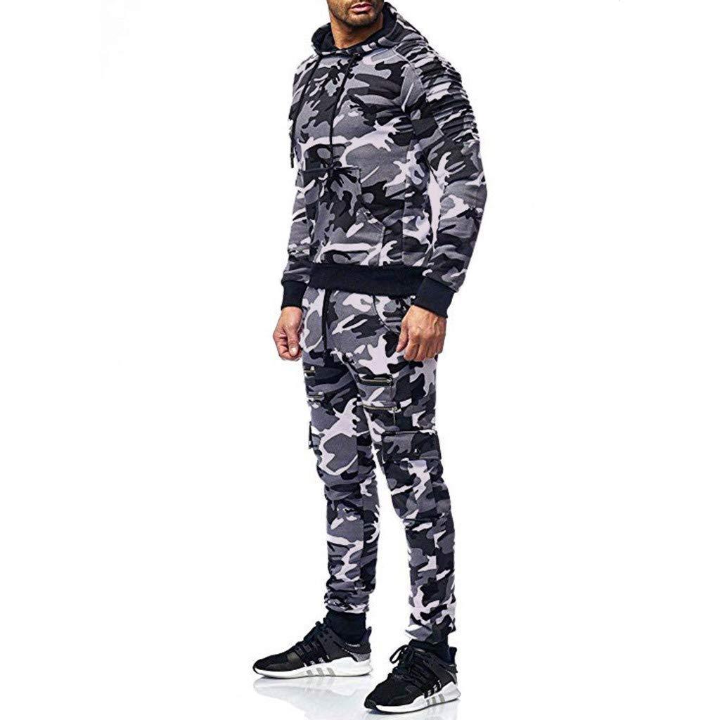 Camouflage Sweatshirt Jogger Sweatpants Solid Patchwork Warm Sports Suit Sports Clothing Pongfunsy Mens Tracksuit Set