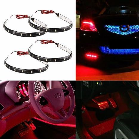 Ecloud Shop 4X Tira 15 LED Impermeable Rojo 30*1CM Dom/éstico Motocicleta Coche