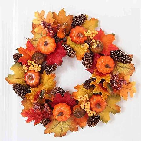 Luchuan Fall Wreath Front Door Decor Wreath Fall Decorations 16a Diameter Autumn Leaves Wreath Pumpkin Pine Cone Wreath For Indoor Outdoor