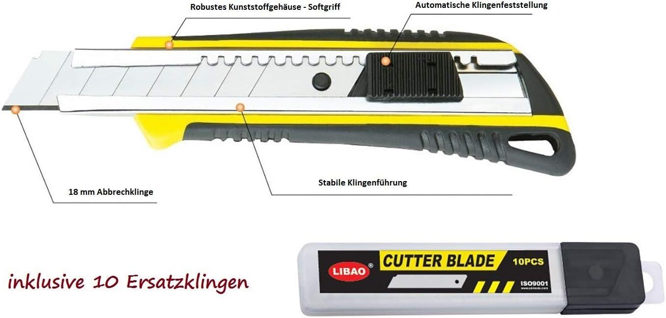 10 Ersatzklingen PAULIMOT Hochwertiges Cuttermesser//Teppichmesser inkl