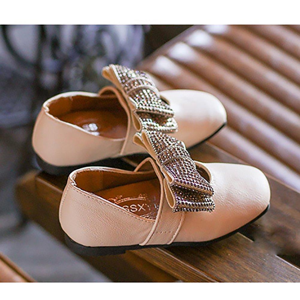 LANXI Girls Bowknot Rhinestone Princess Flat Shoes PU Leather Girls Dress Shoes