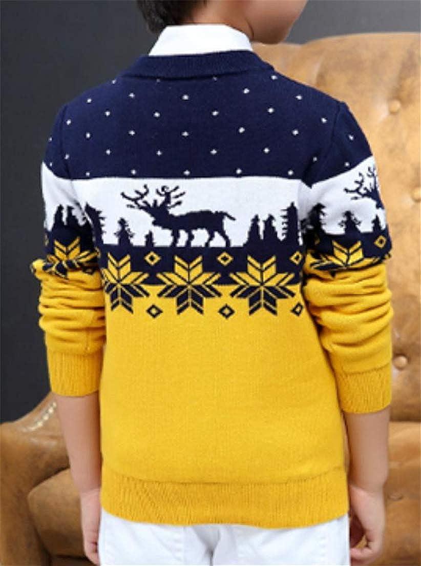 XTX Boy Knitting Crew Neck Printing Classical X-Mas Kids Sweaters