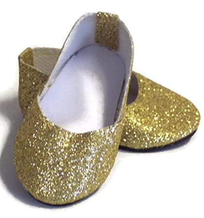 """0bf84b6326c2 Image Unavailable. Image not available for. Color: 18 Inch Doll Shoes Gold  Sparkle Princess Shoes Made for 18"""" American Girl Doll Clothes"""