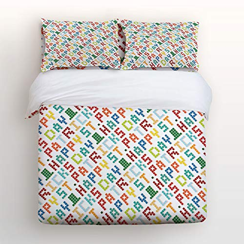 (Anzona 4 Piece Bedding Set Comforter Cover Queen Size, Colorful Pixel Words Geometric Happy St. Patrick's Day Irish Arrangement, 4 pcs Duvet Cover Set Bedspread Daybed for)