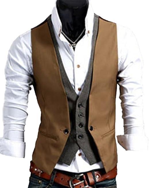 Quge Chalecos Hombre de Vestir de Boda Slim Chaqueta Waistcoat Sin Manga Formal Blazers Camello XL: Amazon.es: Ropa y accesorios