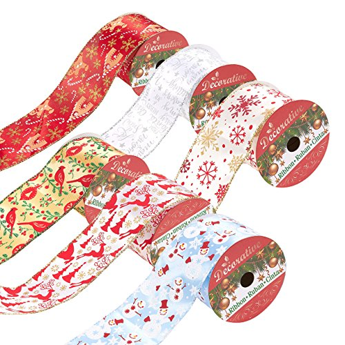 Christmas Wired Ribbon (Juvale Pack of 6 Assorted Christmas Ribbons - Wired Satin Ribbons for Craft Projects, DIY, Decoration, Gift Wrap, 2.5 Inches x 5 Yards, Assorted)