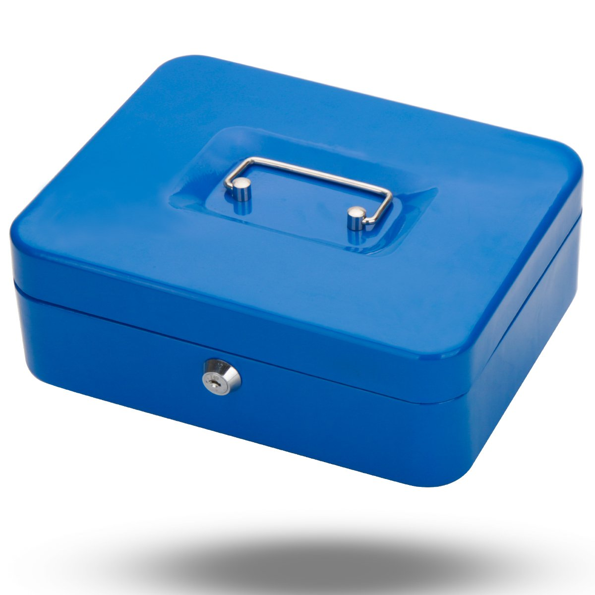 Metal Cash Box with Money Tray, Decaller Money Box with Key Lock for Security (Blue, Medium - 9 4/5'' x 7 4/5'' x 3 1/2''), QH2505M