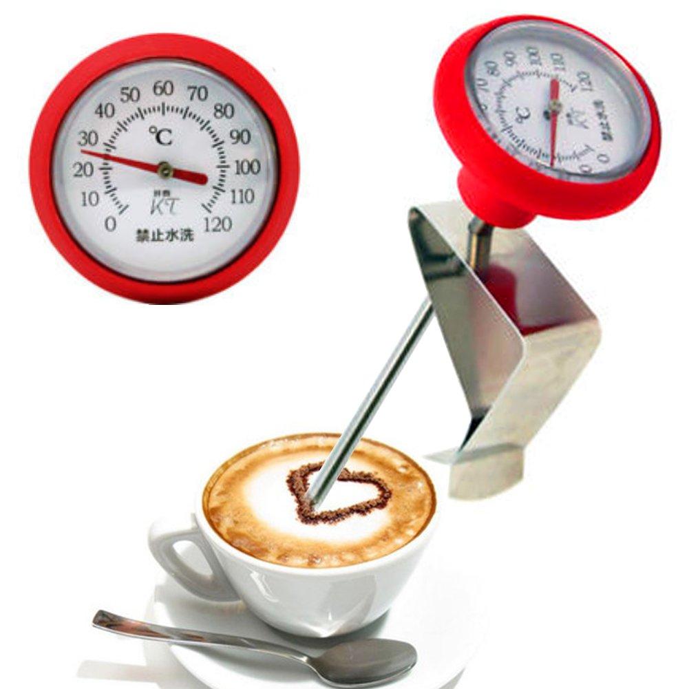 Term/ómetro de caf/é de acero inoxidable para barbacoa profesional con clips Tama/ño libre rosso
