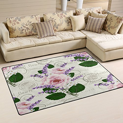 WOZO Shabby Chic Pink Roses Lavender Area Rug Rugs Non-Slip Floor Mat Doormats Living Room Bedroom 60 x 39 inches
