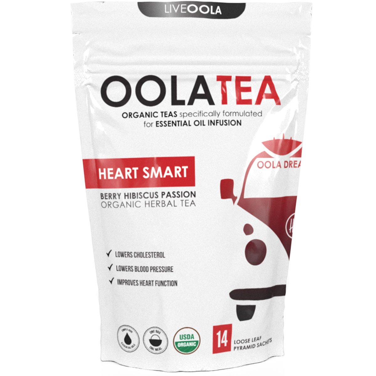OolaTea - HEART SMART (Berry Hibiscus Passion) 14 Count | Organic Herbal Tea | Lowers Cholesterol | Improves Heart Function