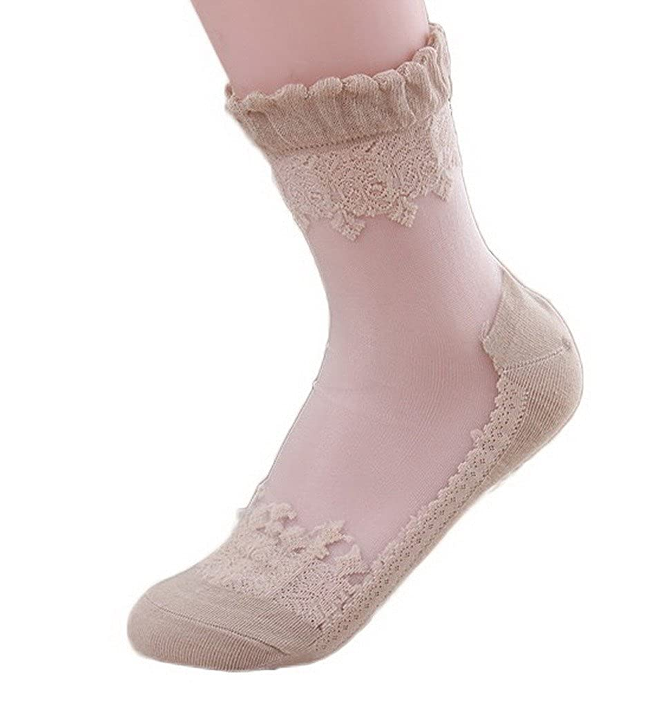 Xiang Ru Women Casual Ice Silk Lace Brim Cotton Short Crew Socks XRU0237AAF