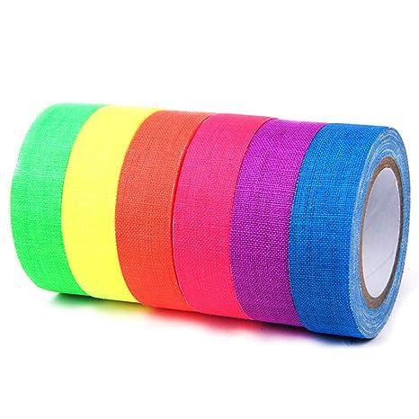 Juego de 6 cintas fluorescentes de alta resistencia para grifo, cinta de neón, fácil de desgarrar para pisos, etapas, pizarra blanca