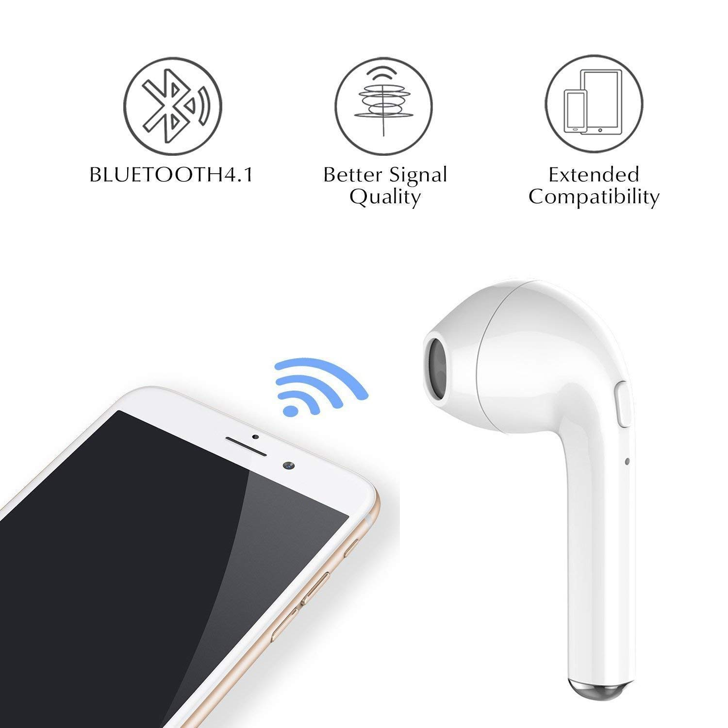 Bluetooth Earbuds,True Wireless Bluetooth Headphones with HiFi 3D Stereo Sound,Built-in Mic with Portable Charging Case Compatible Phone X 8 7 and Android White