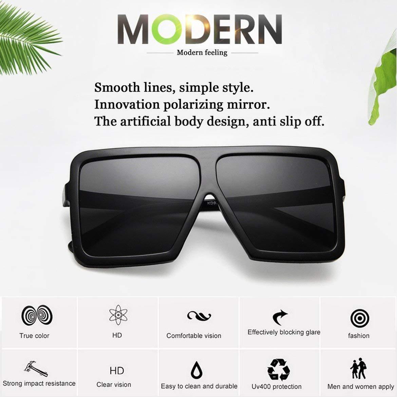 Bright Black /& Grey Fashion Big Square Shape Women Men Sunglasses UV400 Eyewear Sunglasses Hip Hop All-match Sun Glasses PC Frame Resin Lens