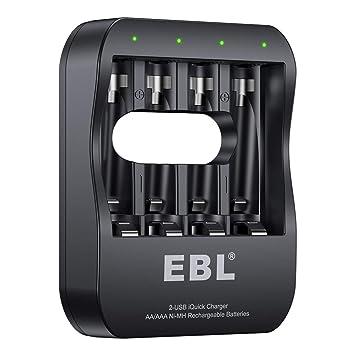 EBL Cargador Rápido de Pilas, 40 Minutos Carga Completa Cargador Inteligente para AA AAA Pilas Recargables con 2 Modos Cable (Micro USB y USB-C)