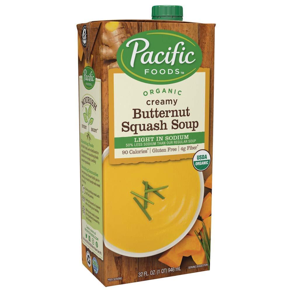 Pacific Foods Organic Butternut Squash Soup, Light Sodium, 32oz, 12-pack