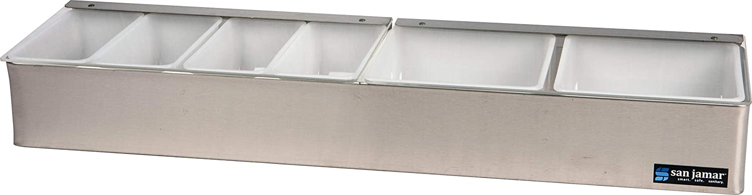"""San Jamar B4246L Stainless Steel Non-Chilled Garnish Tray with Split Lid, 24"""" Width x 3-1/2"""" Height x 5-3/4"""" Depth"""