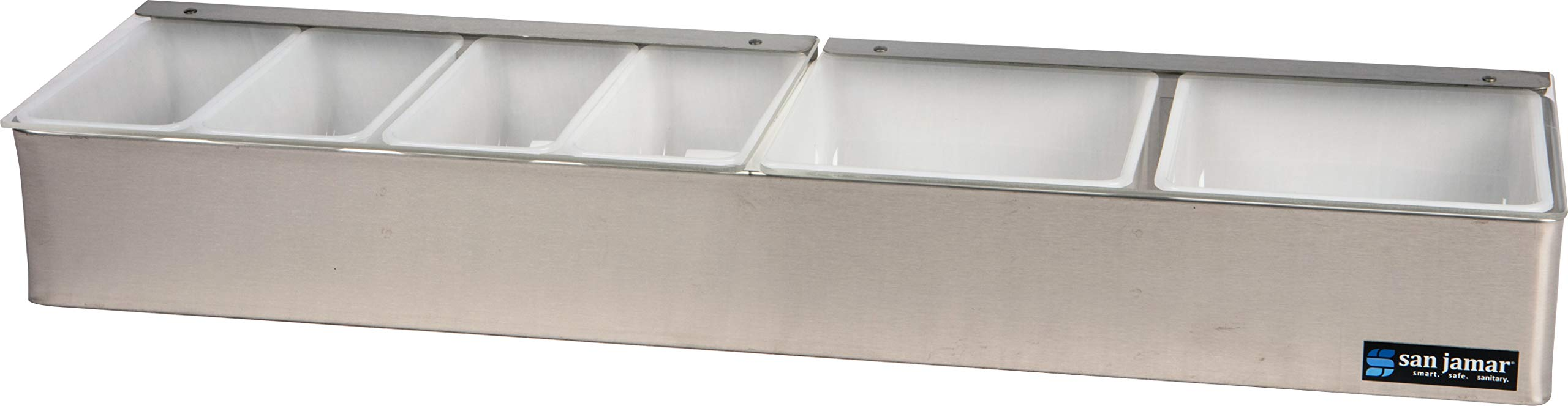 San Jamar B4246L Stainless Steel Non-Chilled Garnish Tray with Split Lid, 24'' Width x 3-1/2'' Height x 5-3/4'' Depth