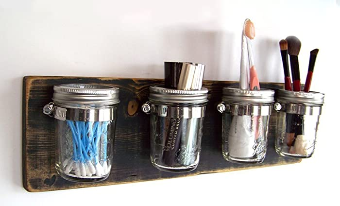 Superbe Bathroom Storage By Out Back Craft Shack: Farmhouse Decor Mason Jar  Organizer   Shabby Black