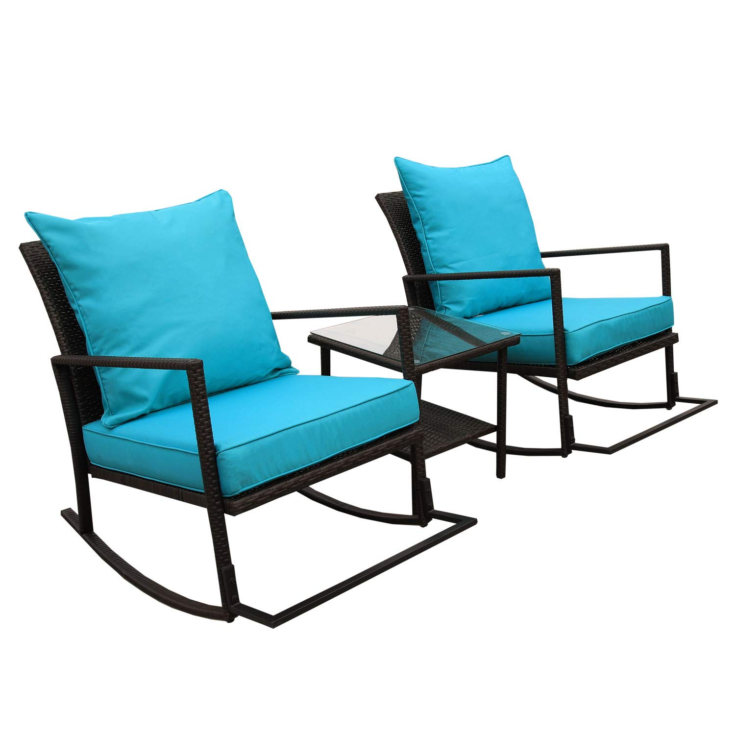 VALITA 3 PCS Outdoor Patio PE Rattan Furniture Rocking Conversation Set End Table with Glass Top and 2 Cushioned Chairs, Turquoise