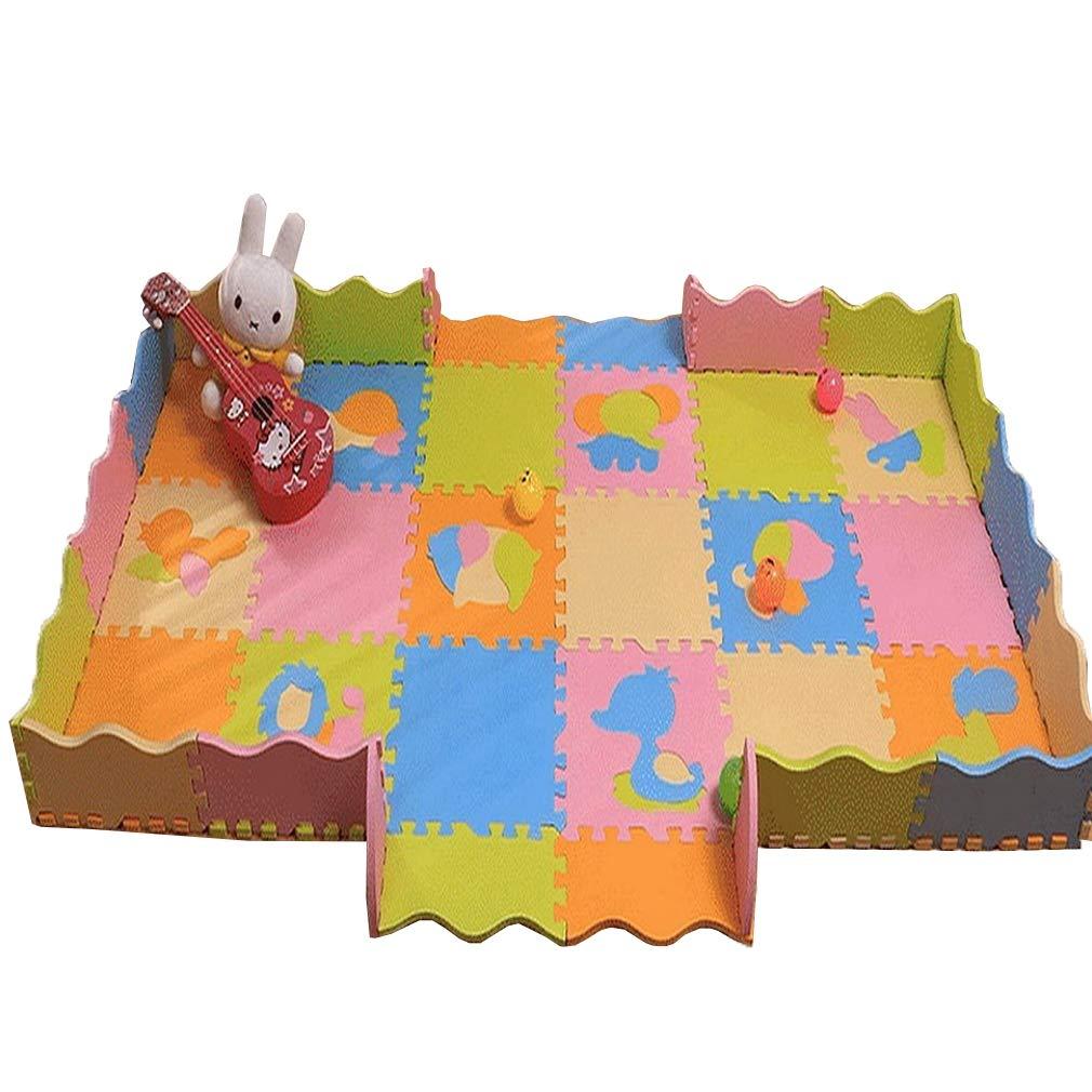 YiyiLai 18tlg. Baby Schutzteppich Puzzlematte Spielmatte Kinderteppich Spielteppich Schaumstoffmatte Deko Lattenzaun Teppich Tier A