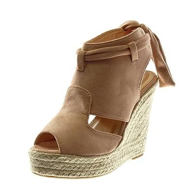 d82222756478c6 Angkorly Chaussure Mode Sandale Mule Plateforme Peep-Toe Ouverte Arrière  Femme Ruban Corde Tréssé Talon