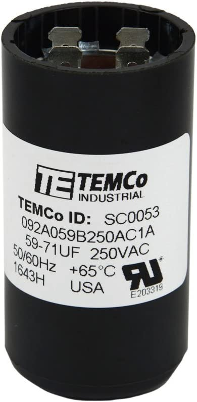 TEMCo 59-71 uf/MFD 220-250 VAC Volts Round Start Capacitor 50/60 Hz AC Electric - Lot -1