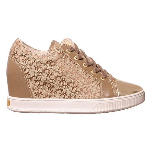 Guess Flfin3-fal12 - Zapatillas de Piel Lisa para mujer Beige beige: Amazon.es: Zapatos y complementos