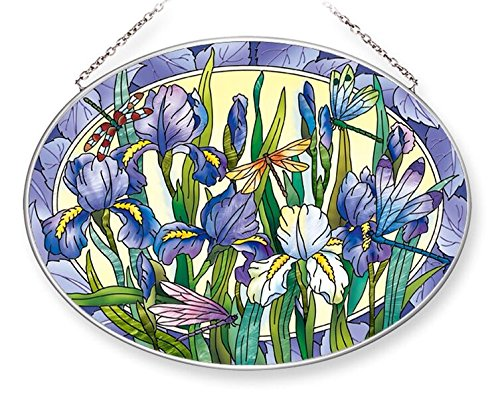 Amia Iris with Dragonflies Oval Glass Suncatcher (42551)