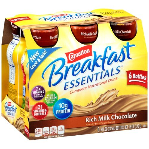 Carnation Breakfast Drink - Carnation Breakfast Essentials Ready-to-Drink, Rich Milk Chocolate, 8 Ounce Bottle (Pack Of 6)