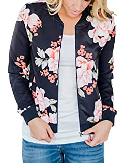 d2408b774eff7 Amazon.com: Allegra K Women's Stand Collar Zip Up Floral Prints ...
