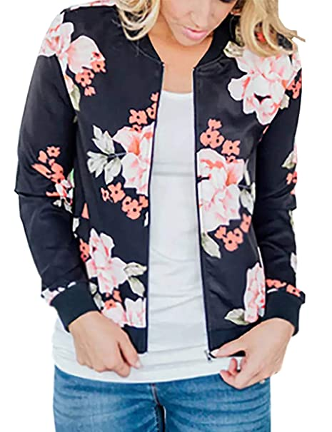 Womens Lightweight Floral Bomber Jacket with Pockets 2 Colors (S-3XL)