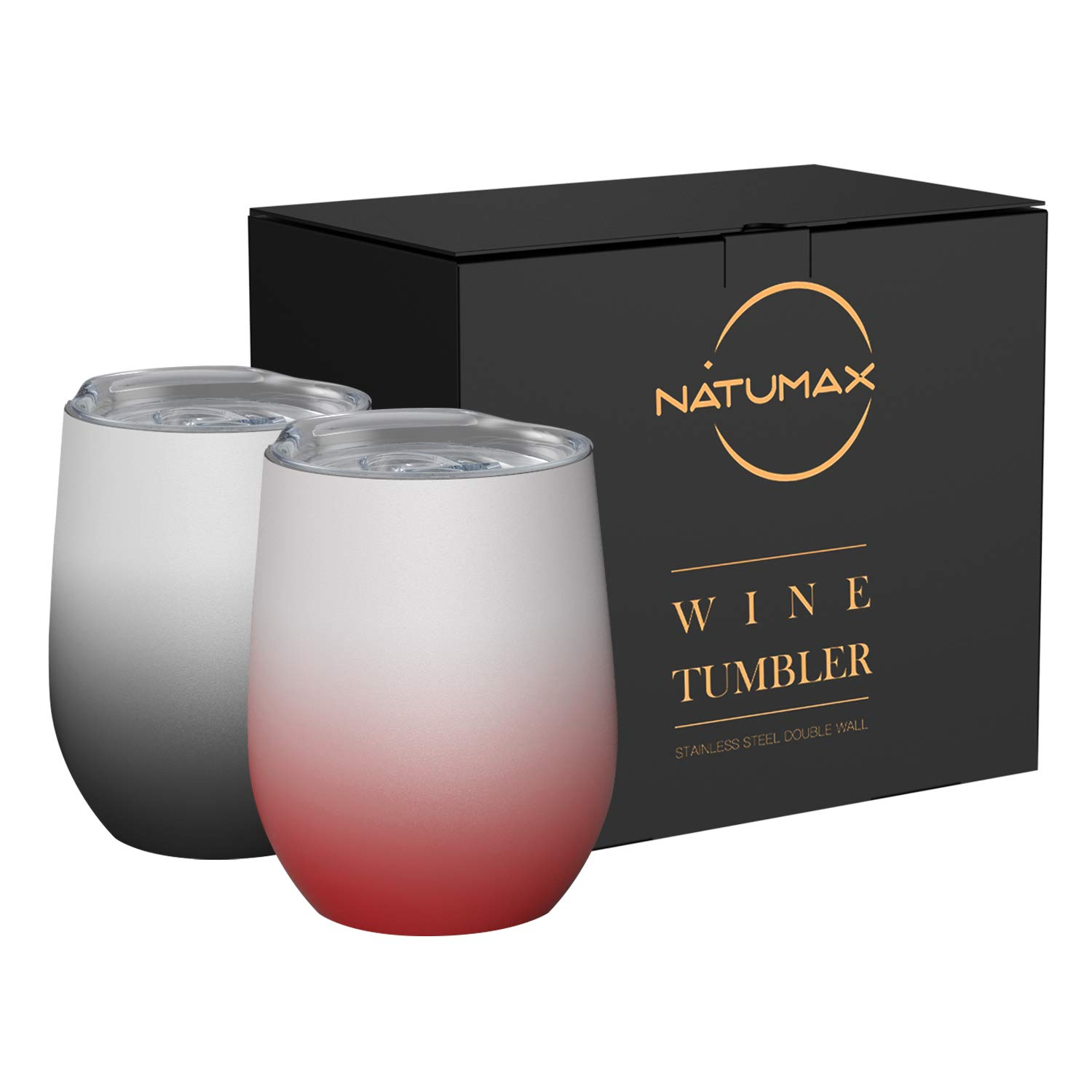 Wine Tumblers with Lid, 12 oz Stainless Steel Stemless Wine Glasses Double Wall Vacuum Travel Insulated Cup for Coffee, Drinks, Champagne, Beverage, Set of 2