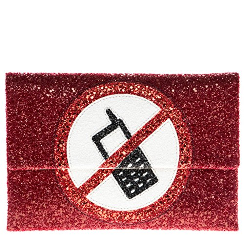 Anya Hindmarch Women's No Mobiles Valorie Clutch Red