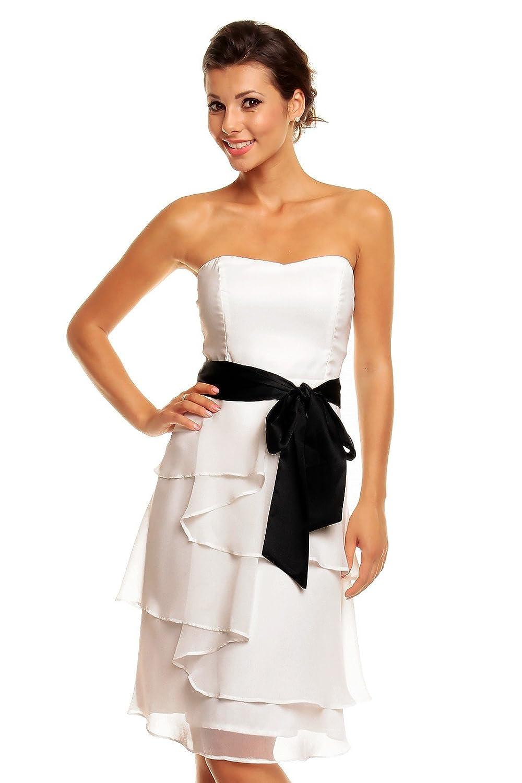 Chiffon Kleid mit Volants und Satin-Schleife - knielang in ...