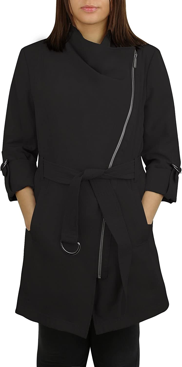 Laundry Black Asymmetrical Zip Belted Trench Coat Jacket