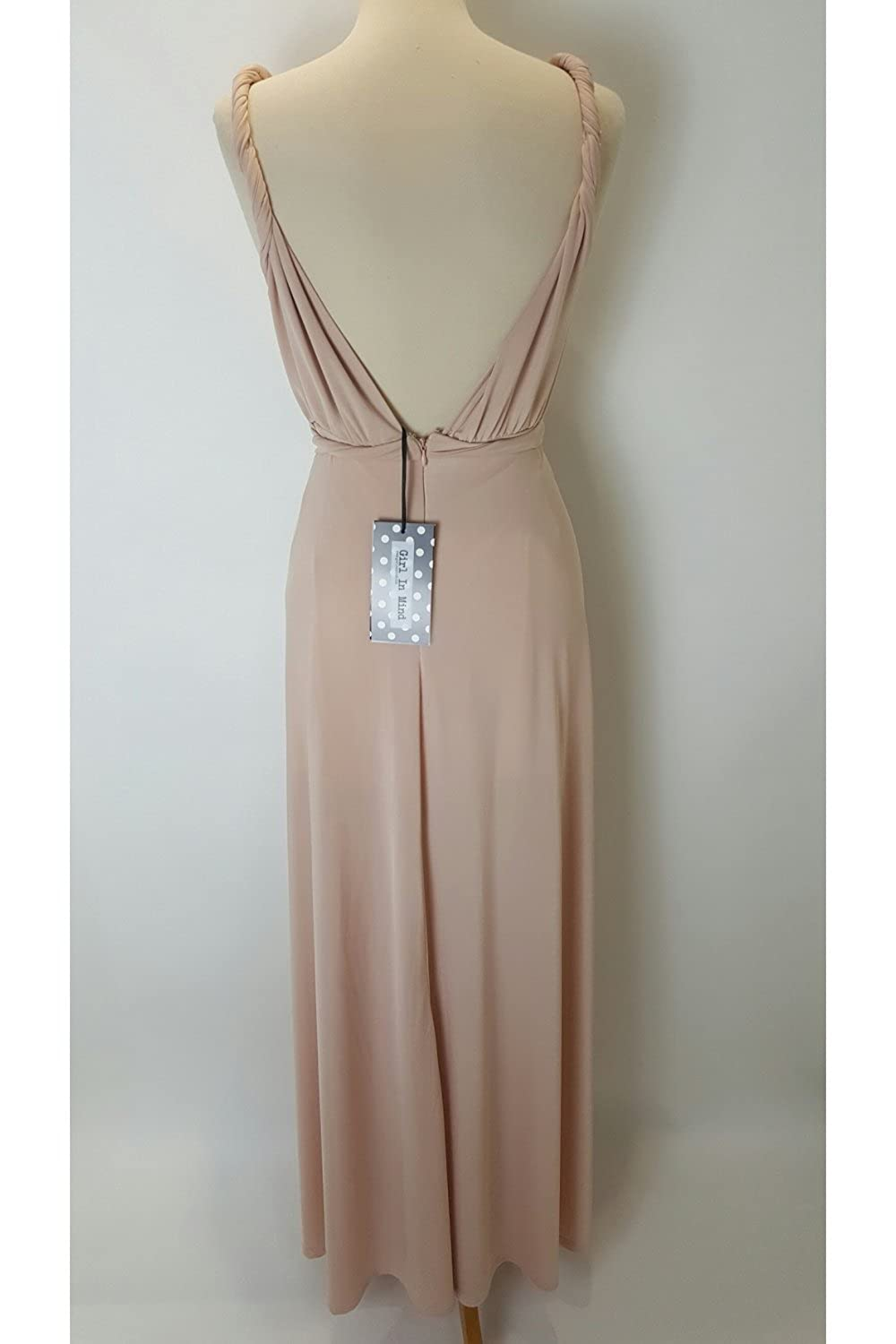 Girl In Mind SI2063 Nude Grecian Style Jersey Dress