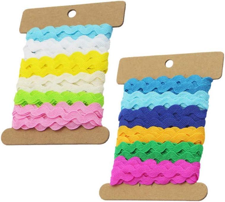 borse 8 mm Exceart in pizzo accessori da cucito 2 rotoli di nastro a forma di onda per vestiti