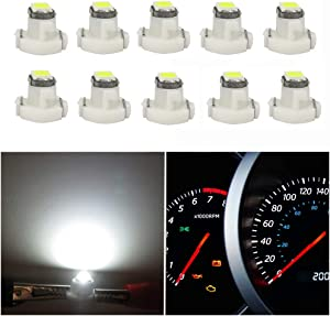 WLJH 10x White T3 Neo Wedge Led 3030 SMD Chip 8mm Base Led Car Dash Instrument Clock Light Check Engine Transmission HVAC AC Heater Climate Control Bulb Lamps Radio Switch Indication Bulb Replacement