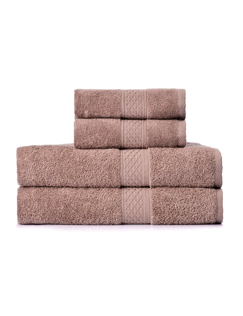 YOUNIQUE 4 Piece Cotton Towel set (Brown), 2 Bath Towels, 2 Hand Towels. Hotel Quality, Machine Washable and Absorbent.