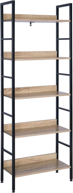 WOLTU Estantería con 5 Escalera Esquina Estante de Almacenamianto de Madera Acero Negro+Roble 60 x 27,5 x 160 cm RGB9303she: Amazon.es: Hogar