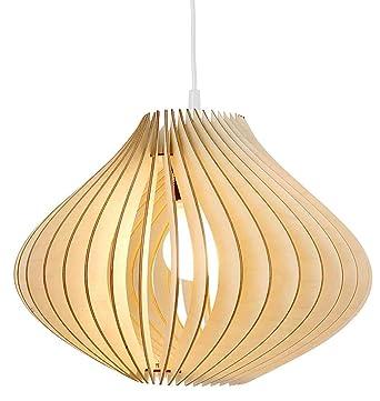 Wodewa Suspension Luminaire Bois I Ventus I Naturelle Lustre Bois Lampe Suspendue Bois Lampe Plafond En Bois Reglable Hauteur E27 Led Chambre Lustre