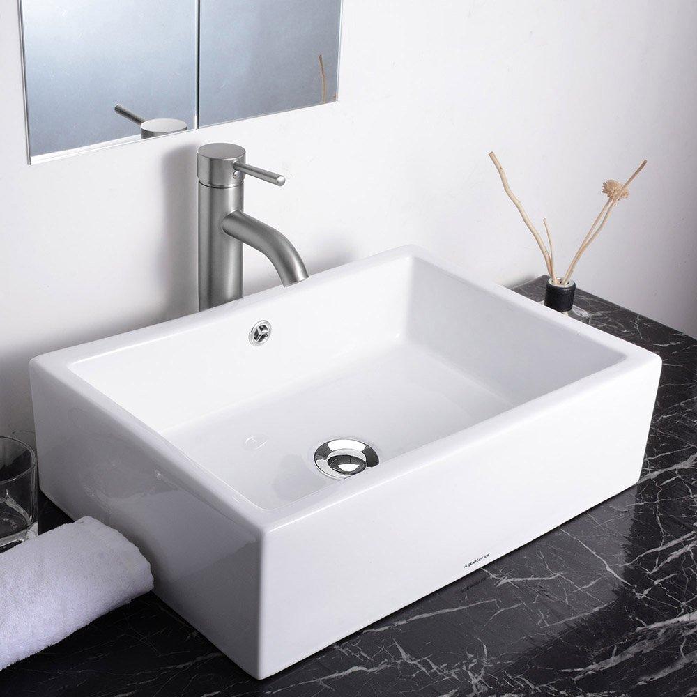Aquaterior 20 2 7 X14 1 4 X6 Rectangle White Porcelain Ceramic Bathroom Sink W Free Chrome Drain And Overflow Amazon Com