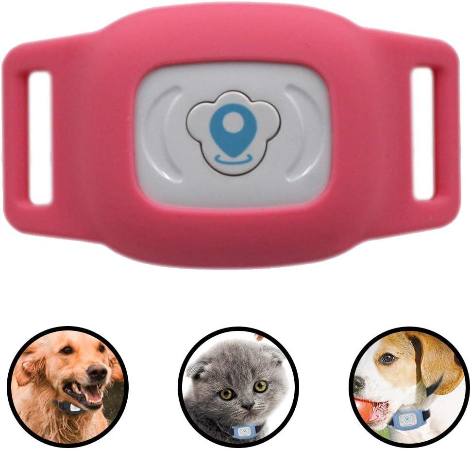WLDOCA 400mAh IP76 - Mini en Tiempo Real Elegante Rastreador GPS para Mascotas, de Carga USB para Mascotas Collar de Perro Seguidores para GPS/Seguimiento de los Equipos Cat Buscador,Rojo